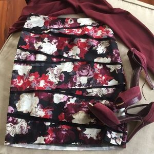 WHBM Floral tiered skirt